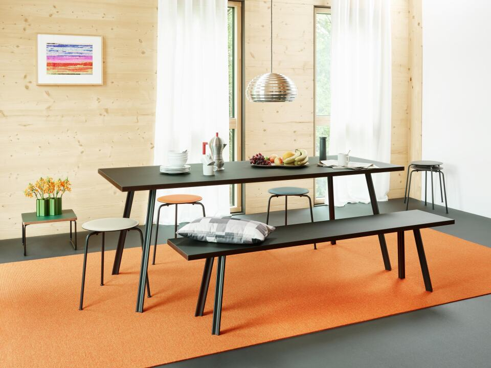 Linoleum conference table with Beam legs