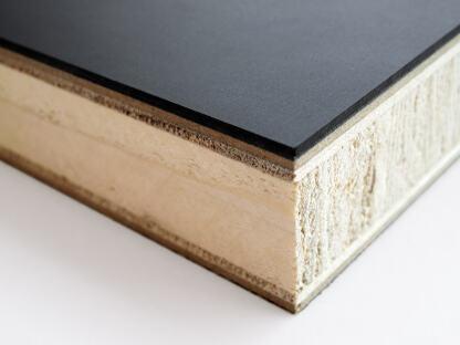Plattenaufbau einer Faust Linoleum Tischplatte