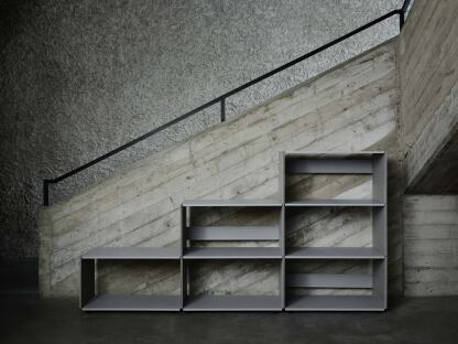 Plusminus shelf with platinum gray MDF side panels without linoleum coating